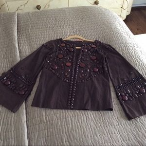 Alice & Olivia brown embellished jacket